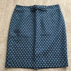 Loft Polka-Dotted Textured Blue Skirt